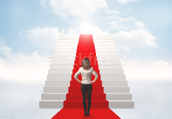 Сток-фото: глядя · лестницы · небо · деловая · женщина · бизнеса · девушки