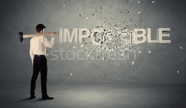 ビジネスマン 不可能 にログイン ハンマー 壁 ストックフォト © ra2studio