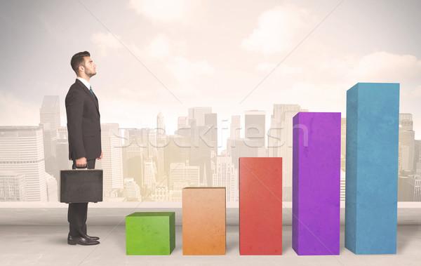 Wspinaczki w górę kolorowy wykres działalności Zdjęcia stock © ra2studio