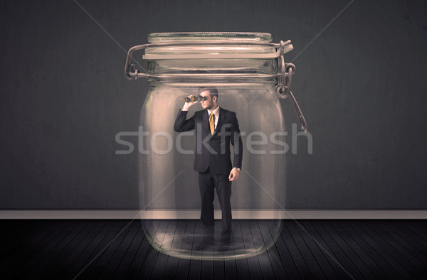 Biznesmen uwięzione szkła jar przestrzeni finansów Zdjęcia stock © ra2studio