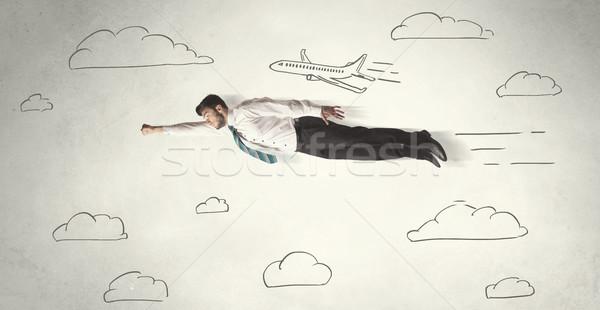 Alegre vuelo dibujado a mano cielo nubes Foto stock © ra2studio