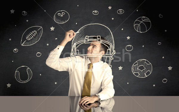 Zakenman tekening helm sport gelukkig Stockfoto © ra2studio