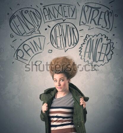 Pazza estrema donna faccia Foto d'archivio © ra2studio