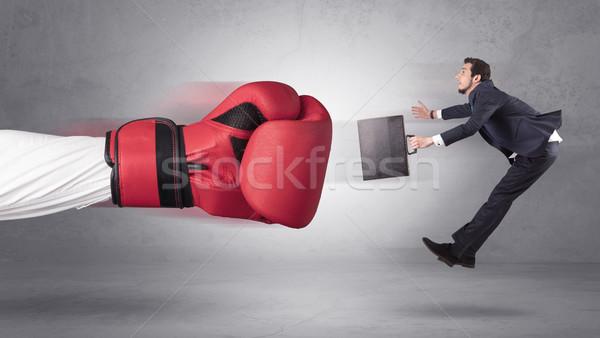 Empresário gigante mão luvas de boxe homem fundo Foto stock © ra2studio