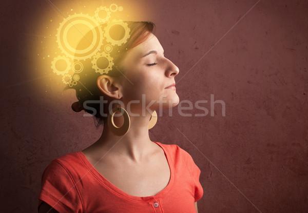 ストックフォト: 賢い · 少女 · 思考 · マシン · 頭 · 実例