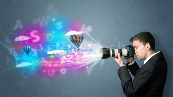 élégant photographe caméra résumé imaginaire jeunes Photo stock © ra2studio