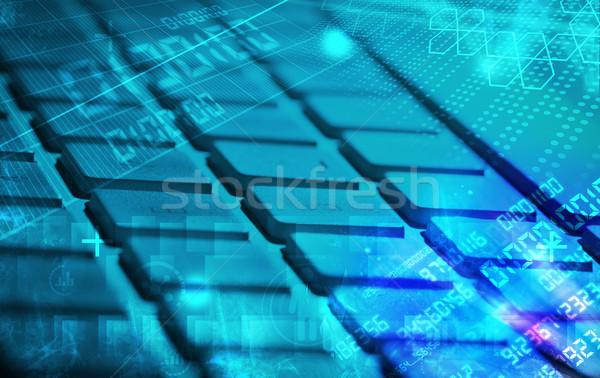 Keyboard with glowing programming codes Stock photo © ra2studio