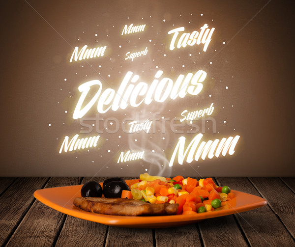 Stock photo: Food plate with delicious and tasty glowing writings