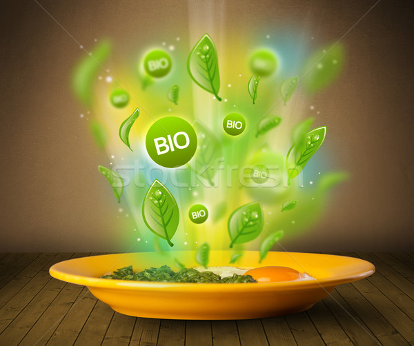 Saine bio vert plaque alimentaire Photo stock © ra2studio
