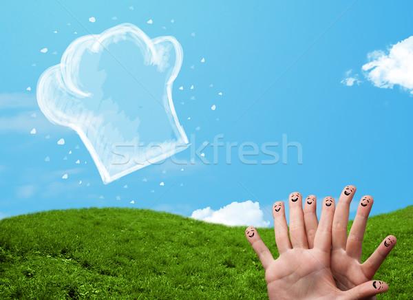 Feliz rosto sorridente dedos olhando ilustração cozinhar Foto stock © ra2studio