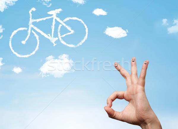 Boldog emotikon ujjak néz bicikli felhő Stock fotó © ra2studio