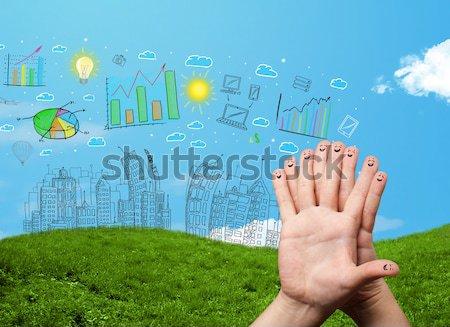 счастливым пальцы глядя рисованной городского Сток-фото © ra2studio
