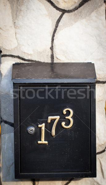 Felfelé postaláda utca kerítés papír fal Stock fotó © ra2studio