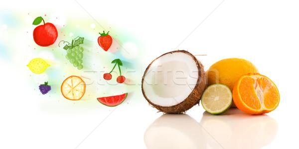 Színes gyümölcsök kézzel rajzolt illusztrált fehér étel Stock fotó © ra2studio