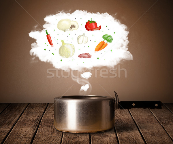 Vegetables in vapor cloud  Stock photo © ra2studio