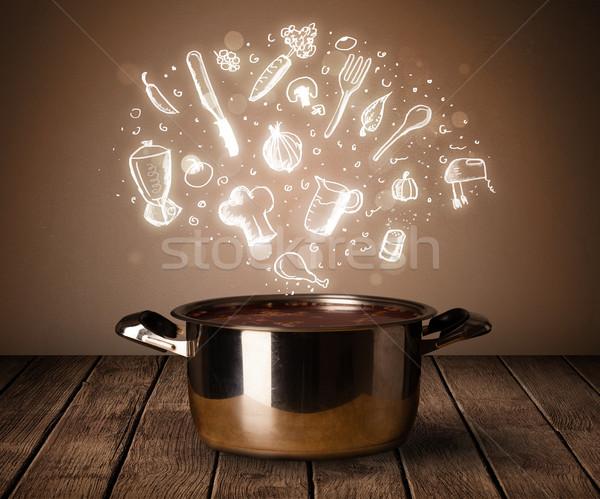 Cozinhar ícones fora panela brilhante saúde Foto stock © ra2studio