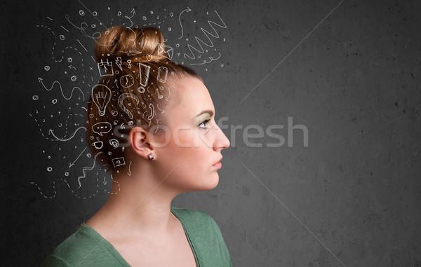Foto stock: Jovem · pensando · abstrato · ícones · cabeça · trabalhar