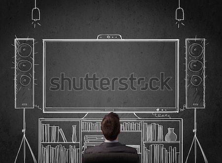 üzletember otthoni mozi fiatal ül élvezi férfi Stock fotó © ra2studio