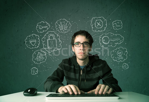 Genç inek öğrenci hacker virüs düşünceler Stok fotoğraf © ra2studio