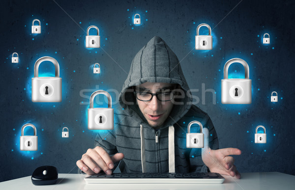 Jonge hacker virtueel slot symbolen iconen Stockfoto © ra2studio