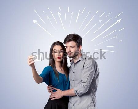 Cute пару Стрелки Сток-фото © ra2studio