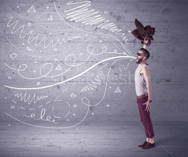 Funny shouting hipster with drawn lines Stock photo © ra2studio