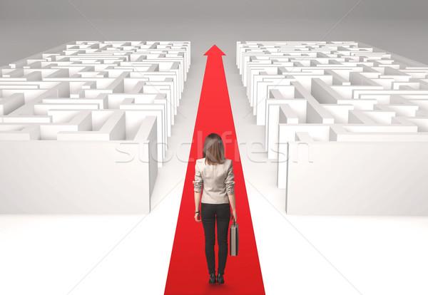 Empresária labirinto bem sucedido simples solução mulher Foto stock © ra2studio
