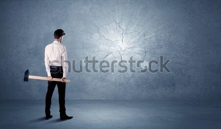 ビジネスマン 壁 ハンマー ビジネス オフィス ストックフォト © ra2studio