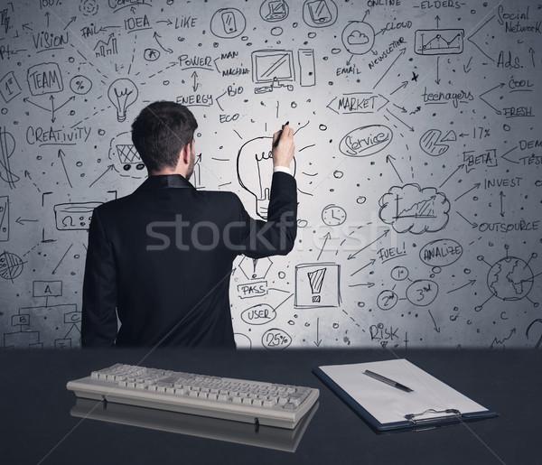 Geschäftsmann schriftlich Strategie Plan Wand intelligente Stock foto © ra2studio