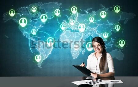 Businesswoman with social media connection Stock photo © ra2studio