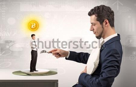 Zdjęcia stock: Zły · działalności · handshake · biznesmen · ukrywanie · broń