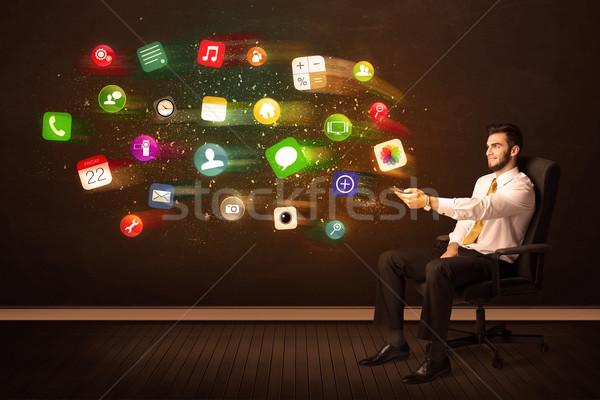 деловой человек сидят офисные кресла таблетка красочный приложение Сток-фото © ra2studio