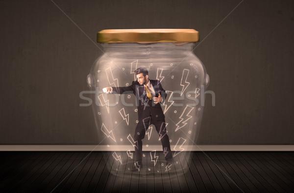 Zdjęcia stock: Biznesmen · wewnątrz · szkła · jar · pioruna · rysunki
