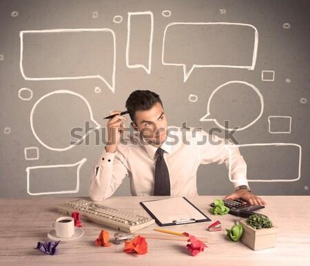Beschäftigt Büroangestellte gezeichnet Text Blasen intelligente Stock foto © ra2studio