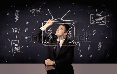 Boldog üzletember rajz tv rádió elegáns Stock fotó © ra2studio
