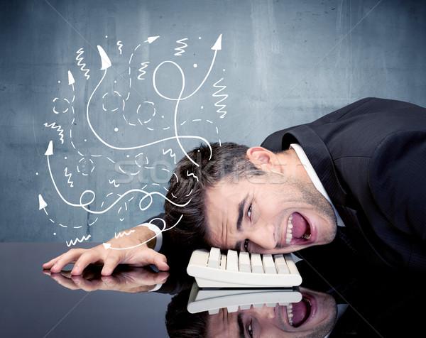 üzletember csalódott gondolatok lehangolt üzletember pihen Stock fotó © ra2studio