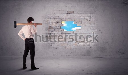 деловой человек кирпичная стена молота человека аннотация Сток-фото © ra2studio