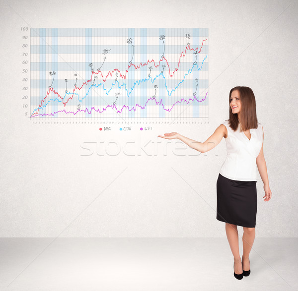 Jeunes femme d'affaires bourse diagramme analyse Photo stock © ra2studio