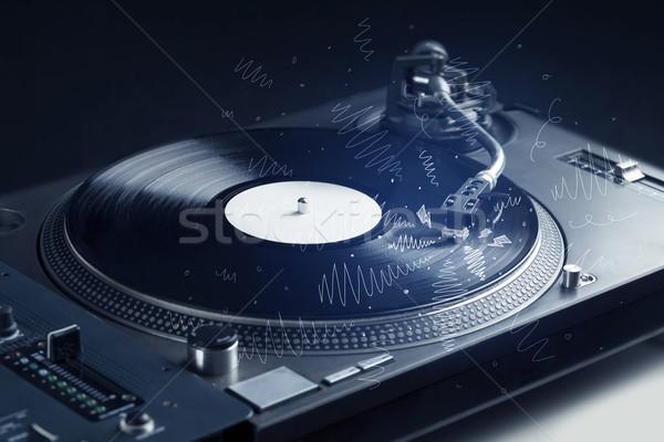 Turntable playing music with hand drawn cross lines Stock photo © ra2studio