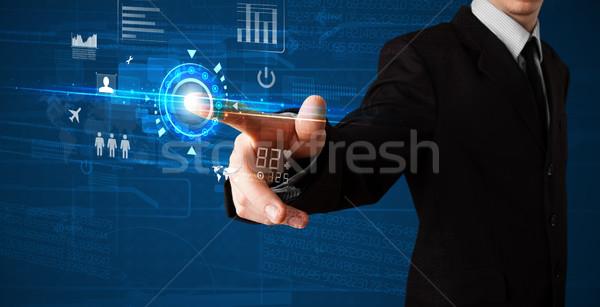 красивый бизнесмен прикасаться будущем веб технологий Сток-фото © ra2studio
