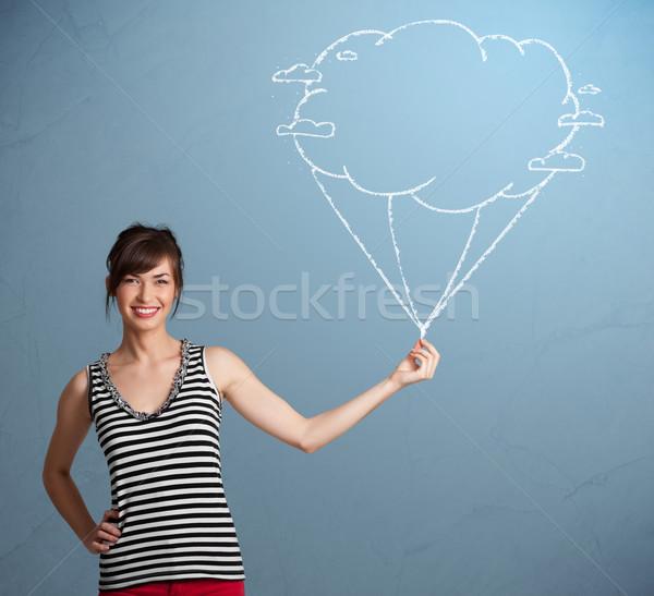 Stok fotoğraf: Güzel · bayan · bulut · balon · çizim