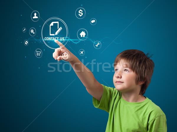 Işadamı sanal mesajlaşma tip simgeler Stok fotoğraf © ra2studio