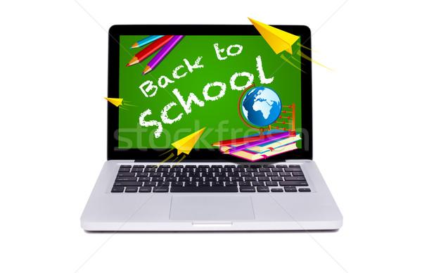 Modern dizüstü bilgisayar okula geri kara tahta yalıtılmış okul Stok fotoğraf © ra2studio