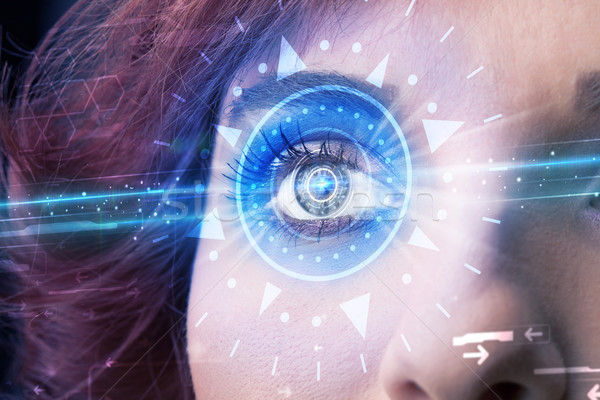 ストックフォト: 少女 · 眼 · 見える · 青 · アイリス · 現代