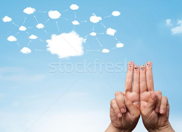 指 スマイリー クラウドネットワーク 顔 手 コンピュータ ストックフォト © ra2studio