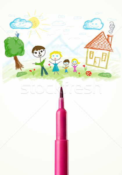 Felt pen close-up with a drawing of a family Stock photo © ra2studio