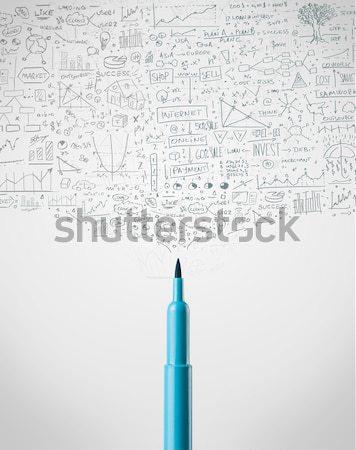 Felt pen close-up with social media icons Stock photo © ra2studio