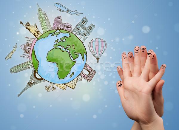 Alegre dedo smileys famoso mundo feliz Foto stock © ra2studio