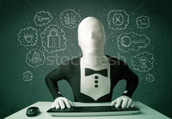 Máscara vírus hackers pensamentos verde Foto stock © ra2studio