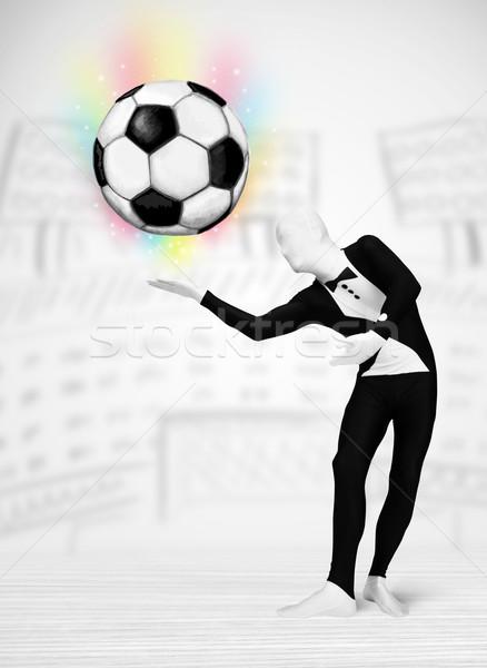 Férfi egészalakos öltöny futballabda vicces kezek Stock fotó © ra2studio